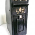 Cast Iron Post Box Black GR  with Gold lettering