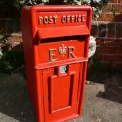 ER Cast Iron Red ER Post Box ,Vintage Post Box Red with ER Gold Lettering