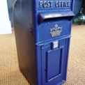 Cast Iron Post box in Scottish Blue