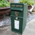 Post Box Irish Green with harp with Gold lettering