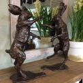 Boxing Hares Lifesize in Bronze