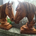 Cast Iron horse head finials in rusty finish