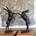 Bronze pair of Boxing hares x large