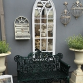Outdoor Mirror, tall gothic style white frame