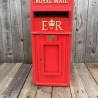 ER 80s Vintage Post Box red cast iron