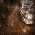 Aluminium human skull decorative object