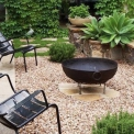 Outdoor fire bowl and grill kadai cast iron