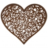 Rusty X L Heart with etched pattern